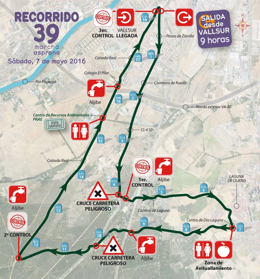 mapa marcha asprona valladolid 2016
